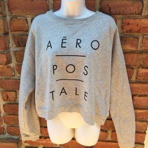 AEROPOSTLE Gray Crop Sweatshirt Cropped Size XL
